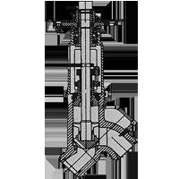 Y angle stopcheck valve