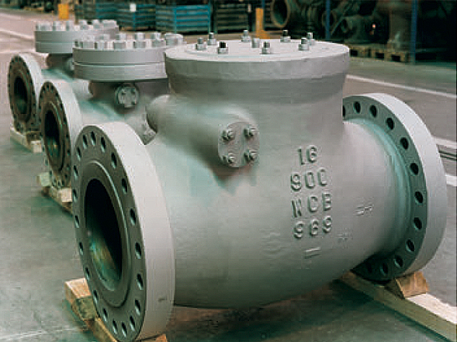 Swing check valves on the workshop