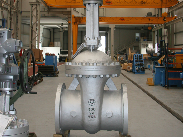 Wedge gate valve on workshop