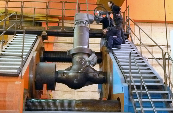 Straight pattern globe valve being tested