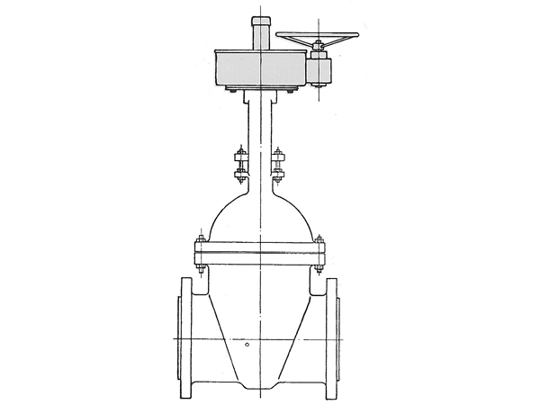 Bevel gearing with horizontal handwheel.