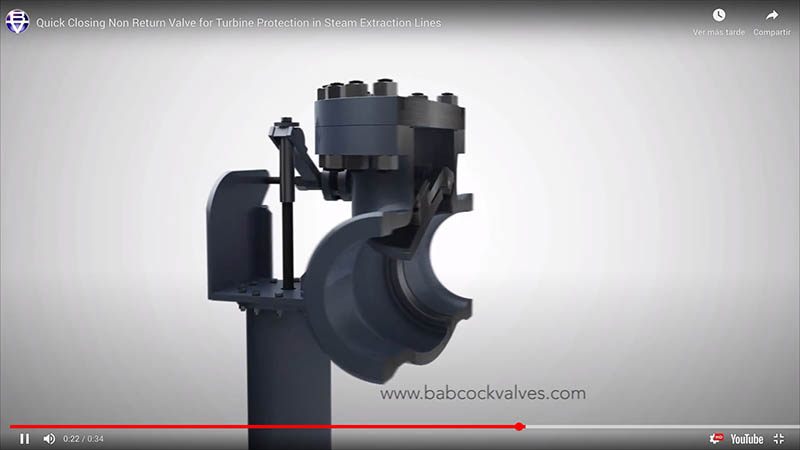 Quick Closing Non Return Valve for Turbine Protection in Steam Extraction Lines